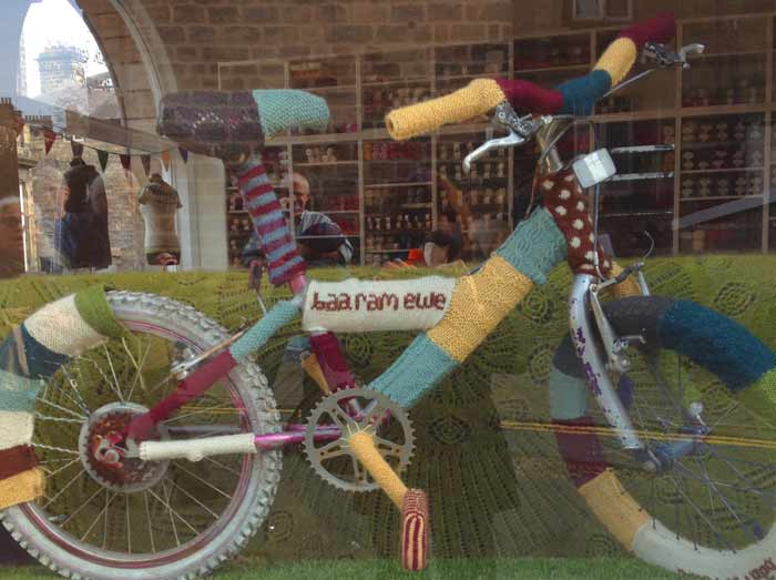 Yarn covered bike at Baa Ram Ewe