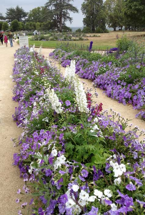 Purple and white flowers carried throughout the grounds