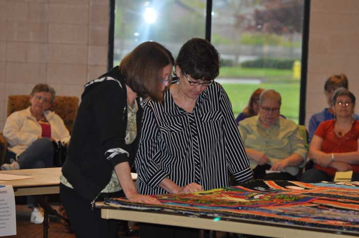 Elizabeth Spannring and me judging at Clark County Quilters 2014