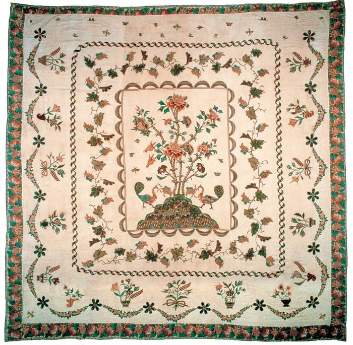 Tree of Life Coverlet, maker unknown