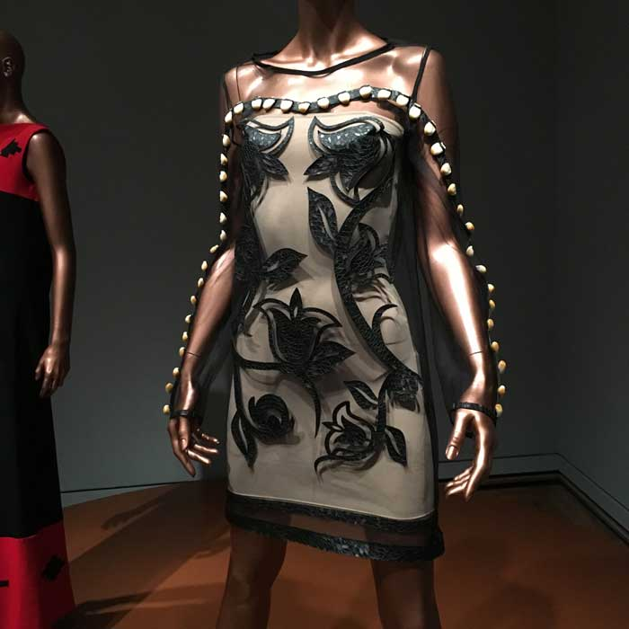 "Artist--Bethany Yellowtail ""Old Time Floral Elk Tooth Dress""--Lace, leather, elk teeth"