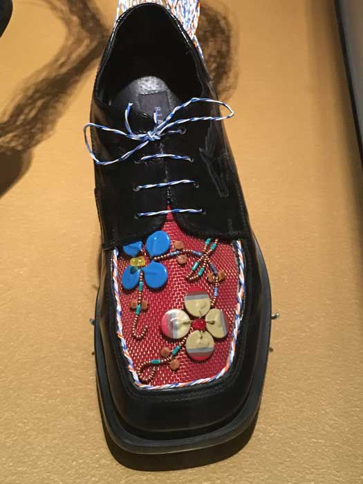 """Artist: Barry Ace """"Reaction Shoes"""" Leather shoes, computer components, wire, paper, metal, and rubber"""
