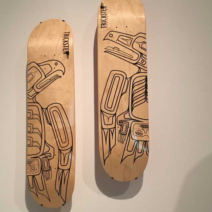 "Artist: Rico Lanaat' Worl ""Raven and Eagle Skateboard Decks"""