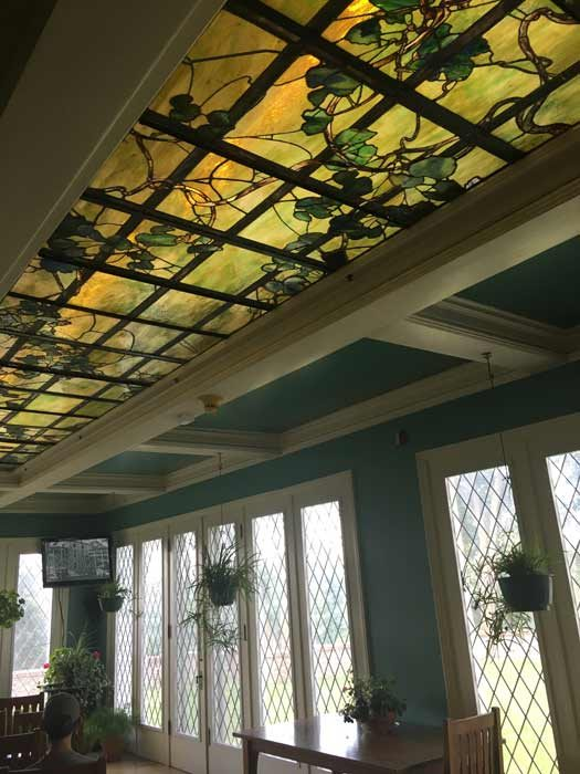 Sunroom with its beautiful stained glass ceiling